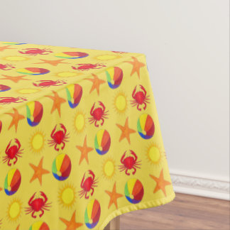 Beach Print Beachball Crab Sun Starfish Summer Tablecloth