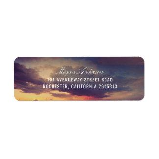 Beach Purple Sunset Sky Romantic Wedding Return Address Label