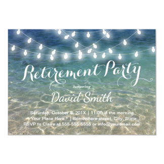 Beach Retirement Party String Lights Tropical Card