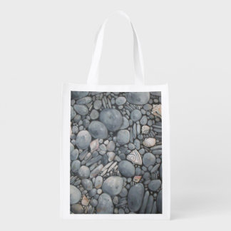 Beach Rocks and Stones Pebbles Reusable Grocery Bag