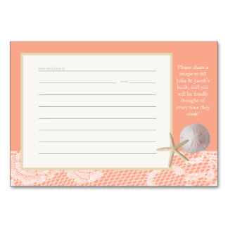 Beach Romance Peach Recipe Card Table Card