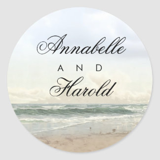 Beach Romantic Summer Wedding Classic Round Sticker