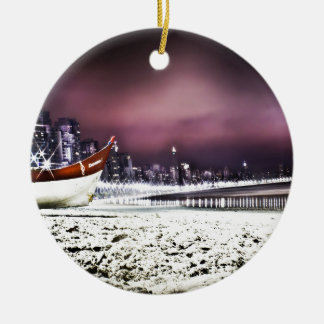 Beach Round Ceramic Ornament