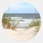 Beach Round Stickers