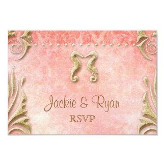 Beach RSVP Wedding Reply Card Seahorse Coral Gold