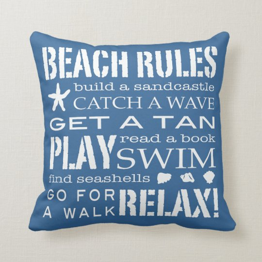 Beach Rules By the Seashore Classic Blue & White Throw Pillow