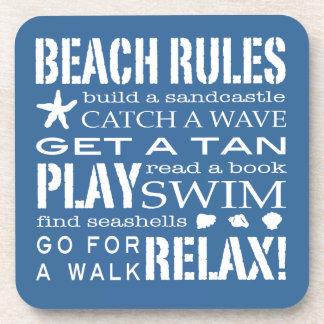 Beach Rules By the Seashore Nautical Blue & White Beverage Coaster