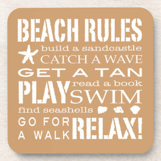 Beach Rules By the Seashore Sandy Beige & White Beverage Coaster
