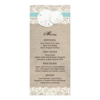 Beach Rustic Burlap Lace Menu Card - Turquoise Rack Card Design