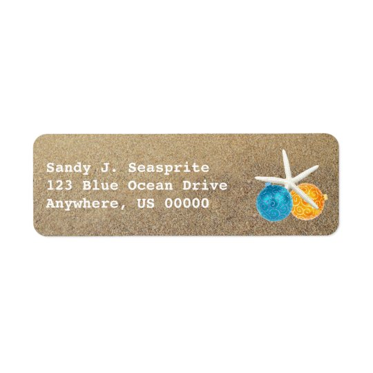 Beach Sand and Ornaments Return Address Labels