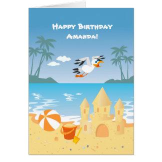 Beach Sand Castle kids birthday party Card