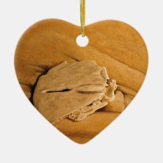 beach, sand dollar, waves, sand ceramic heart ornament