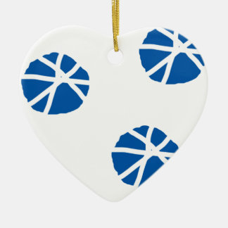 Beach Sand Dollars Inspiration Blue White Art Ceramic Heart Ornament