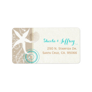 Beach Sand n Starfish Beach Wedding Label