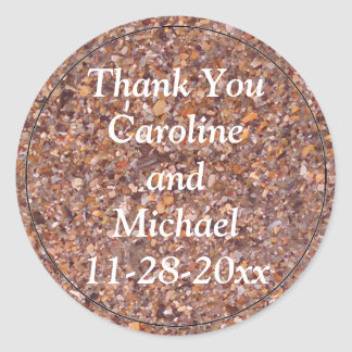 Beach Sand Pebbles Shells Thank You Wedding Favor Classic Round Sticker