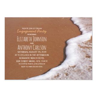 Beach Sand Sea Foam Romantic Engagement Party Card