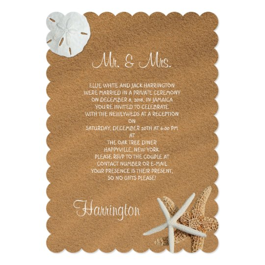 Beach Sand Seashells Newlywed Reception Card