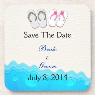 Beach Sandals Wedding Save The Date Drink Coasters