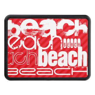 Beach; Scarlet Red Stripes Tow Hitch Covers