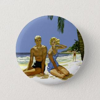 Beach scene 2 inch round button