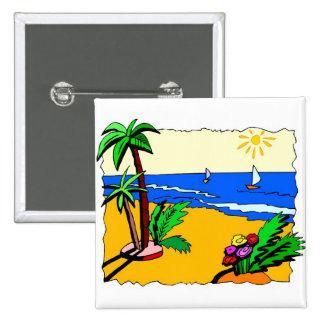 Beach Scene 2 Inch Square Button