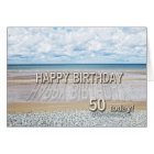 Beach scene 50th birthday card with 3D letters