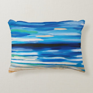 Beach scene abstract painting throw pillow