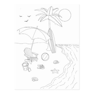 Beach Scene Adult Coloring Postcard