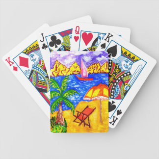 Beach Scene Art2 Bicycle Playing Cards
