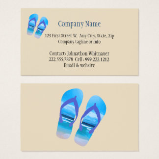 Beach Scene Flip Flop Fun Summer Vacation Art Business Card