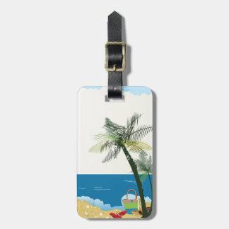 Beach scene image luggage tag. luggage tag