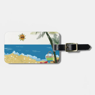 Beach scene image on sunnyday luggage tag