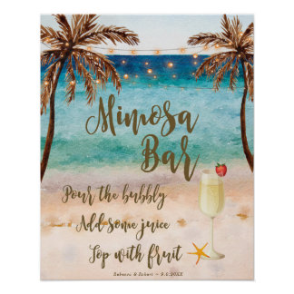 Beach scene Mimosa Bar Sign wedding party etc
