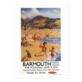 Beach Scene Mother and Kids British Rail Postcard