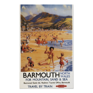 Beach Scene Mother and Kids British Rail Poster