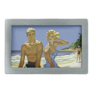 Beach scene rectangular belt buckle