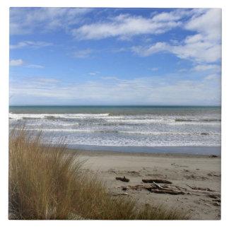 Beach Scene, sand, sea and blue sky Tile