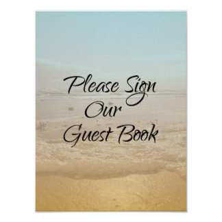 Beach Scene Sign Our Guest Book Wedding Poster