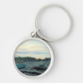Beach Scene Silver-Colored Round Keychain