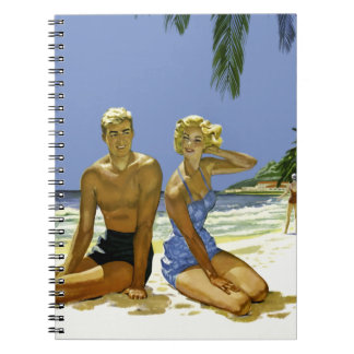 Beach scene spiral notebook