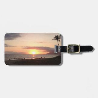 Beach Scene Sunset Maui Hawaii Ocean Luggage Tag