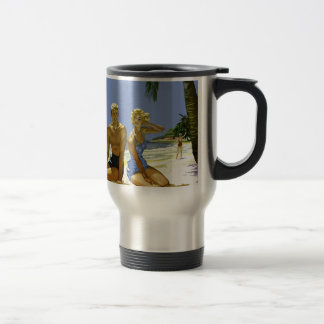 Beach scene travel mug