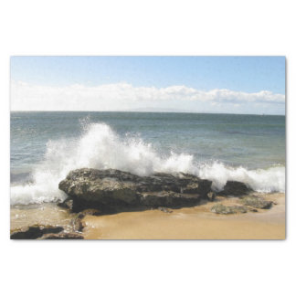 Beach scene water splashing maui tissue paper