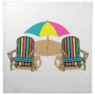 Beach Scene with Chairs and Umbrella Cloth Napkin