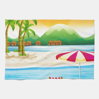 Beach scene with chairs and umbrella hand towel