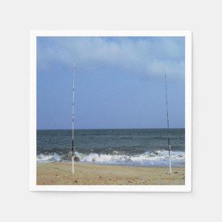Beach Scene With Fishing Poles Paper Napkin
