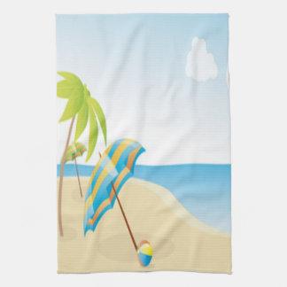 Beach Scene with Umbrella, Palm Trees & Beach Ball Hand Towels