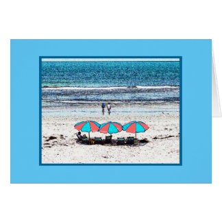 Beach scene with umbrellas (note card) card