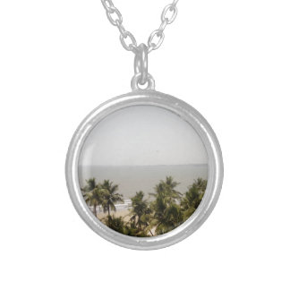Beach Scenery Silver Plated Necklace