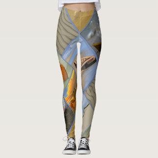 Beach Scenes Collage Ocean Marine Life Leggings